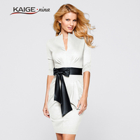 Summer 2015 Womens Elegant Sexy V Neck Half Sleeve Belted Wrapped Wear To Work Business Casual