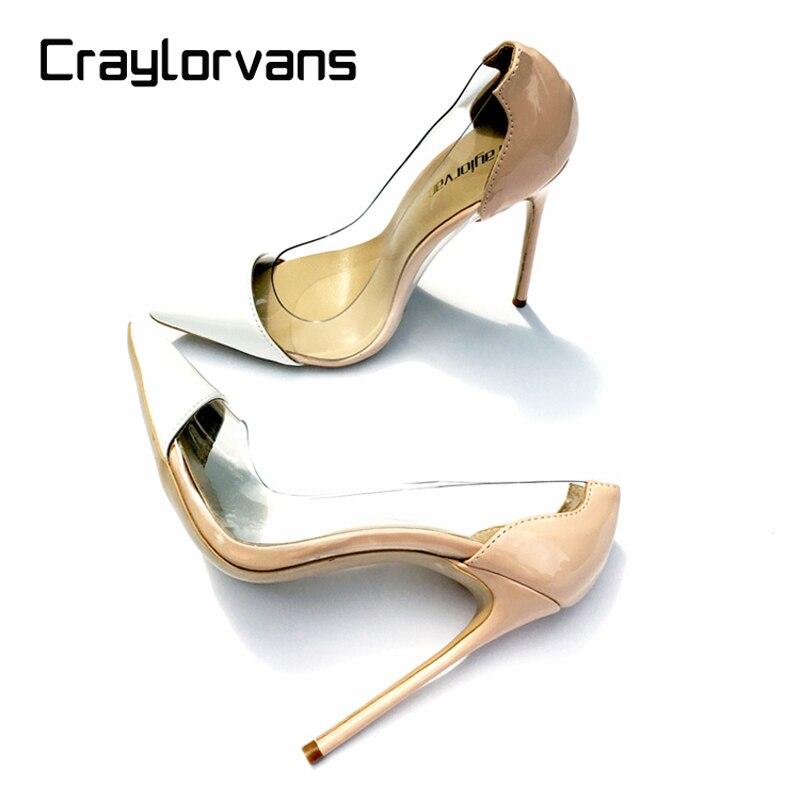 Craylorvans Mulheres Bombas 2019 Transparente 12.5 cm sapatos de Salto Alto Sexy Sapato de Bico Fino Slip-on Limpar Sapatos de Vestido de Noiva Para tamanho senhora 43