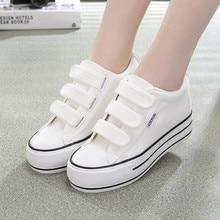 Wedges Canvas Shoes Woman Platform Vulcanized Women Sneakers Hidden Heel Height Increased 6CM Casual Chessures Femm