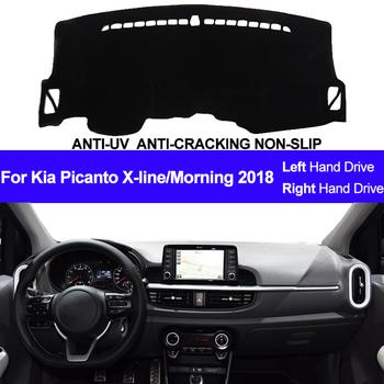 Deska rozdzielcza samochodu pokrowiec do Kia Picanto X-line rano 2018 deska rozdzielcza mata na deskę rozdzielczą Pad dywanik pokrywa Auto Pad dywan parasol przeciwsłoneczny Dashmat tanie i dobre opinie TAIJS z włókien syntetycznych For Kia Picanto X-line Morning 2018