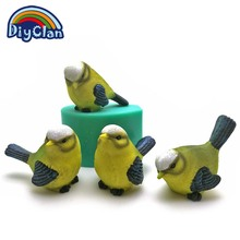 4 Style DIY silicone bird molds for cake decoration 3D simulation cuckoo soap form salt sculpture chocolate sparrow