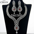 Chran Fashion Red CZ stone Luxury Necklace Earring African Jewelry Sets wedding Gold Plated Top Elegant Party Gift