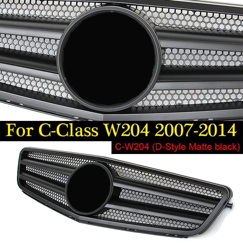 Suitable for Mercedes Benz C-Class w204 grille matte black with emblem W204 c180 c200 c230 c250 c280 c300 c350 C63 2007-2014 w204 c180 c200 c260 c300 carbon fiber car rear trunk lip spoiler wing for mercedes benz w204 c63 4 door 2008 2013 amg style