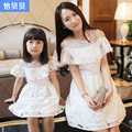 2016 Summer Style Style Solid New Arrival Daugther Clothes Dress Family Set For Mother Daughter Children Strapless Lotus Leaf