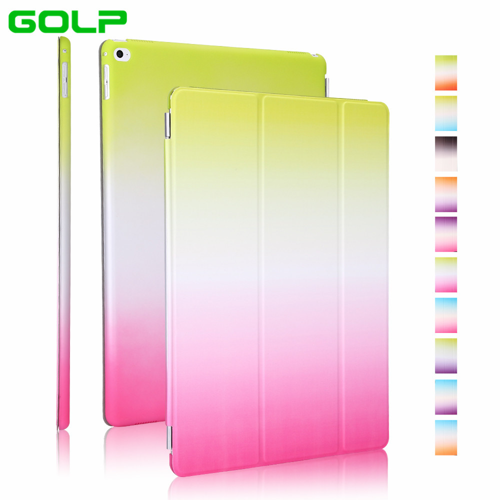 Case for iPad Pro 12.9″, GOLP 2 in 1 Two color gradient PU Leather Cover translucent PC back tablet Case for iPad Pro 12.9″