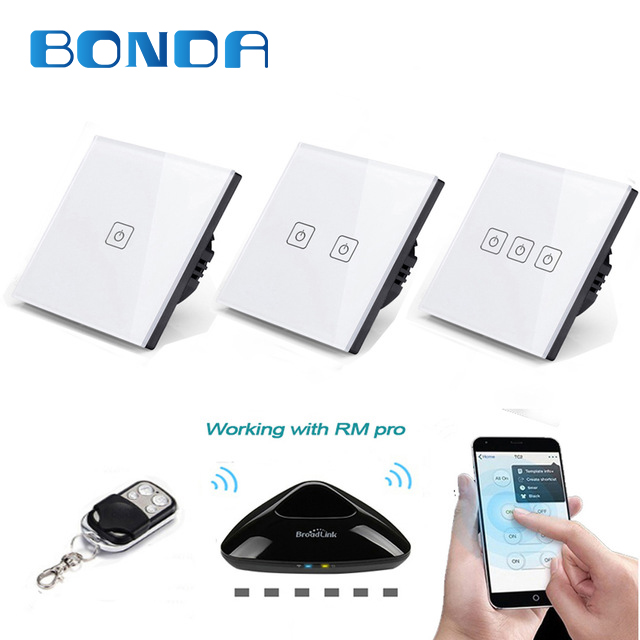 все цены на BONDA eu standards of wireless remote control switch luxury crystal glass panel touch screen wall lamp switch RF433 110-240V онлайн