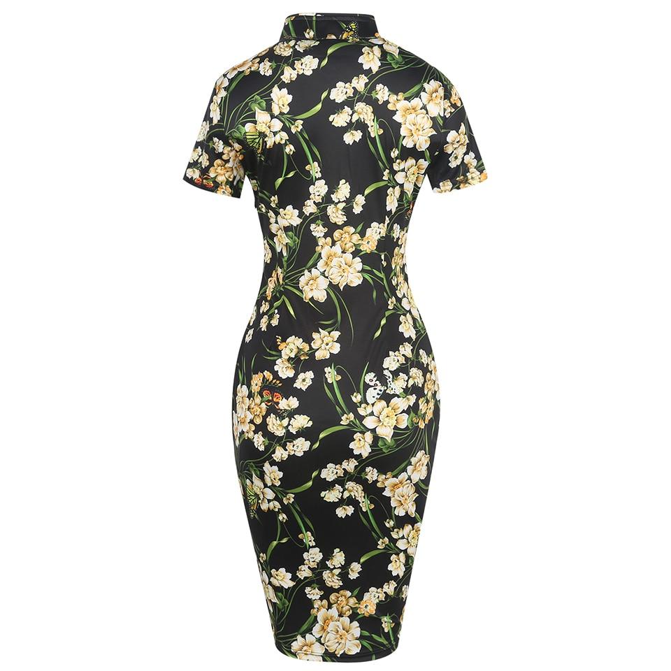 Oxiuly sieviešu modes kleita Vintage Bodycon kleitas ziedu apdruka - Sieviešu apģērbs - Foto 4