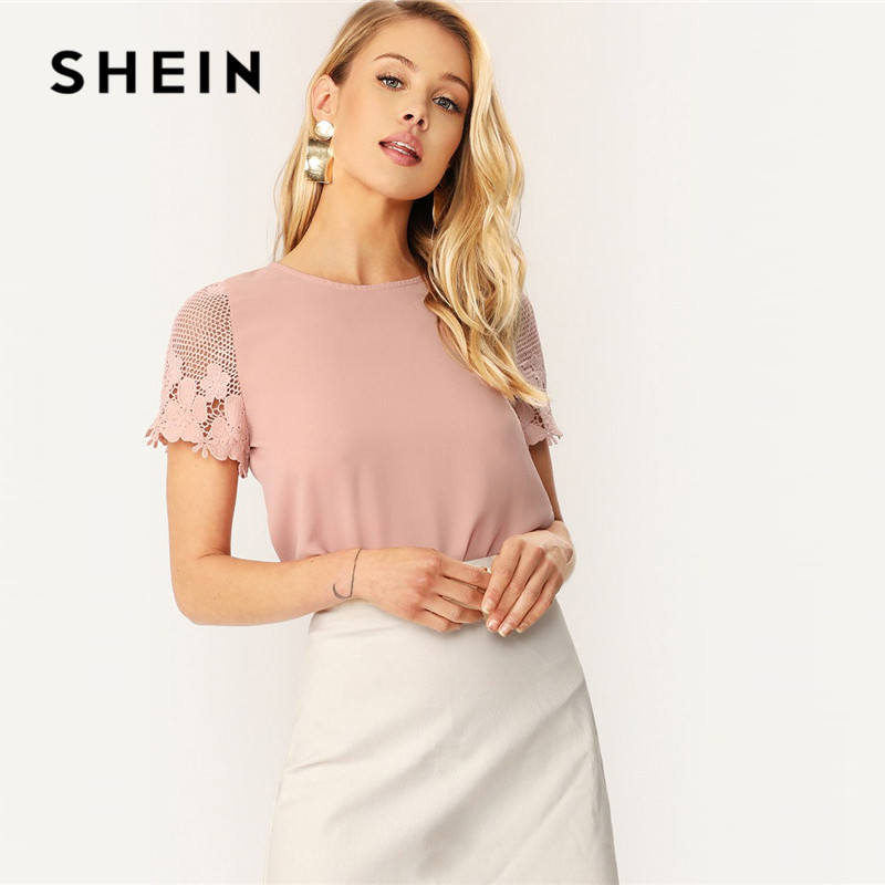 SHEIN Lady Pink Casual Scallop Hem Lace Sleeve Blouse Summer Solid Round Neck Short Sleeve Keyhole Back Womens Tops And Blouses