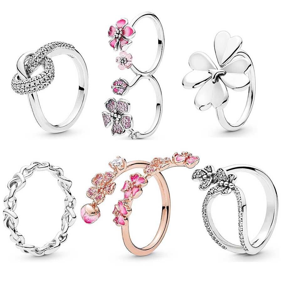 fffa7134b34b Cheap Esmalte Rosa flor nudo corazón arco del empoderamiento de la mujer  anillo de Plata de