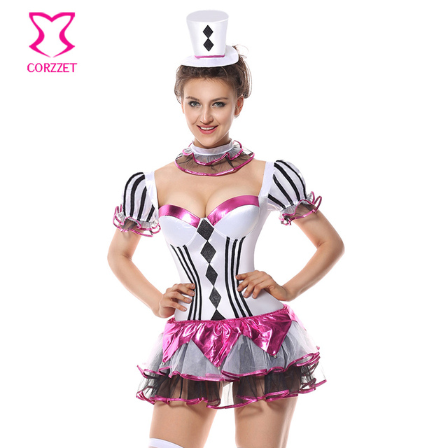 carnival burlesque showgirl fancy dress mad hatter circus halloween costumes women sexy harlequin hottie clown costume - Halloween Costumes Harlequin