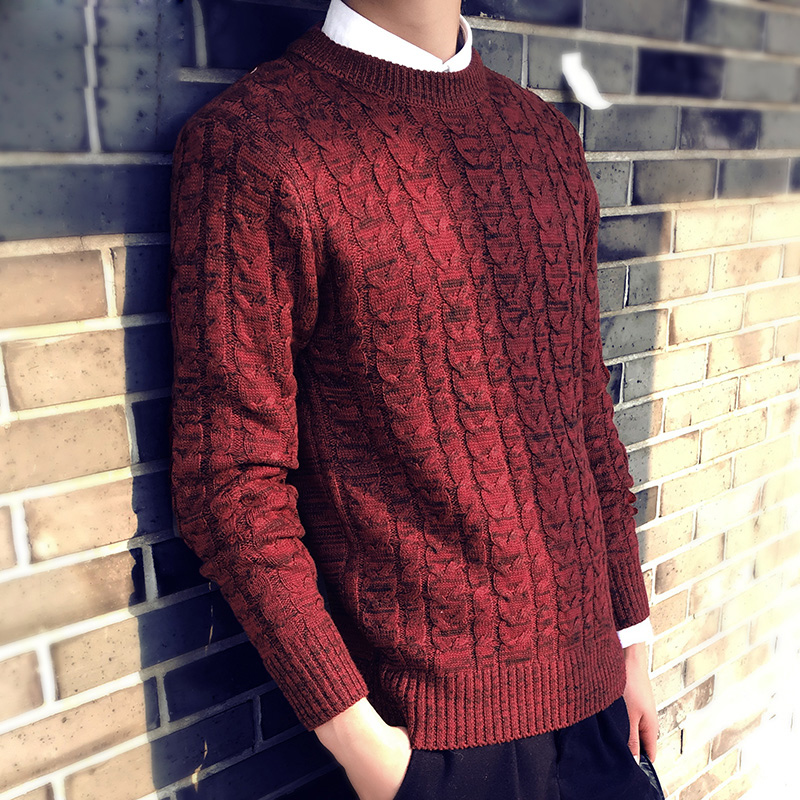 2018 winter mens solid color O-neck sweater preppy style slim long-sleeve large size thi ...