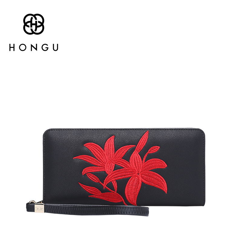 Hongu Women Genuine Leather Embroidery Long Wallet Carteira Female Women Wallet Famous Brand Ladies Clutches Coin Purses Holder women female bow famous brand designer hello kitty leather long wallets purses carteira feminina couro portefeuille femme 40