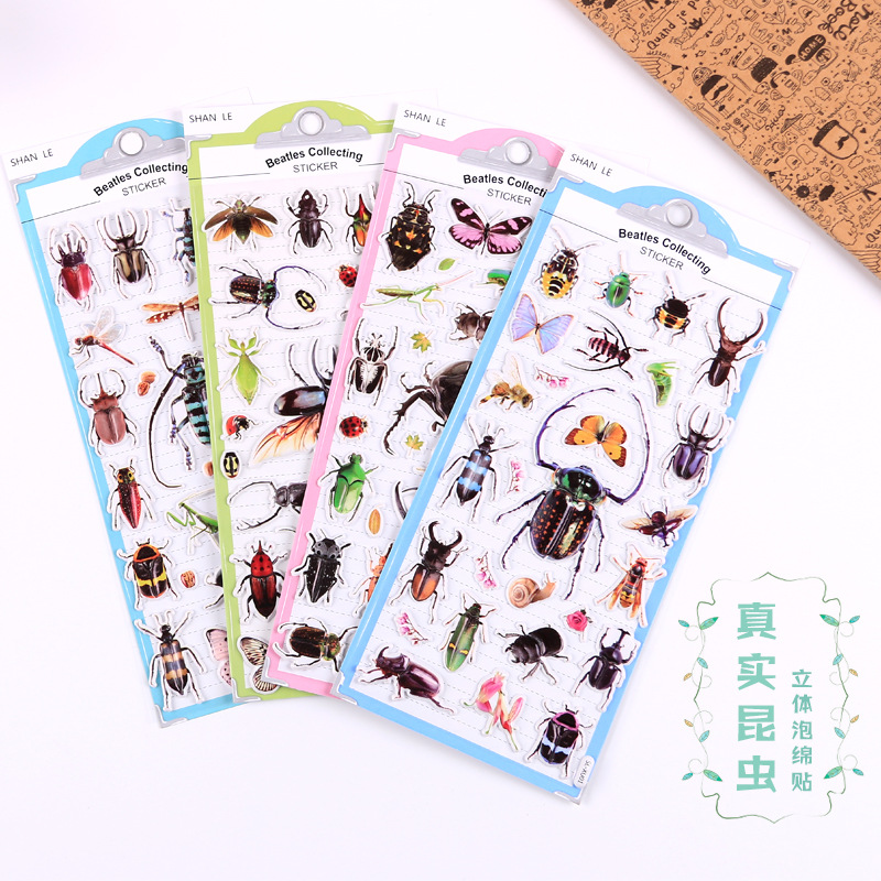 1set/1lot Kawaii Stationery Stickers Beetle Foam Diary Planner Decorative Mobile Stickers Scrapbooking DIY Craft Stickers