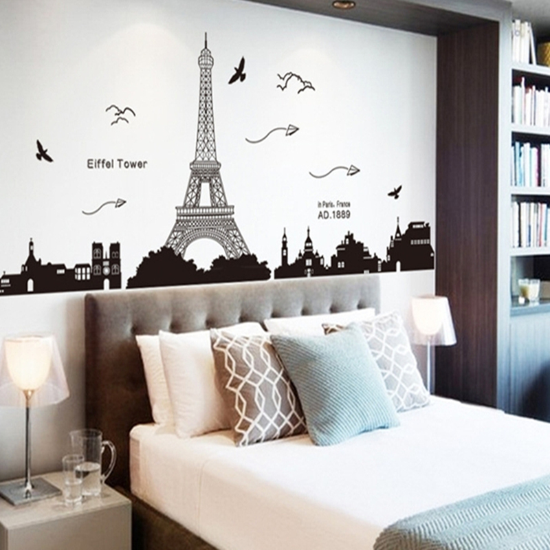 Black PVC Eiffel Tower Wall Stickers Wall hangings Living room ...