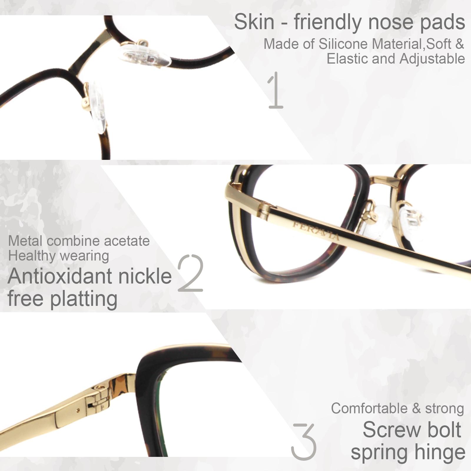 Fashion Design Metal Acetate Glasses Frame Eyewear myopia Reading frame Women Gold Black Demi Gray Eyeglasses FVG7110 in Women 39 s Eyewear Frames from Apparel Accessories
