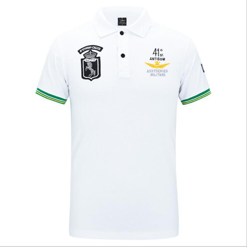 shop new specials detailed images 100% Cotton Air Force one Top Quality Embroidery Een's Aeronautica Militare  Men Shirts Brand POLO ...