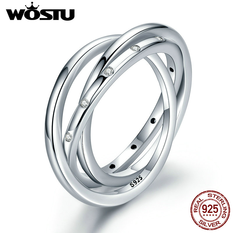 WOSTU New Arrival Genuine 925 Sterling Silver Innovative Swirling Rings For Women Fashion Jewelry Gift XCH7627 wostu new arrival real 925 sterling silver luminous glow rings for women authentic fine jewelry gift zbb7640