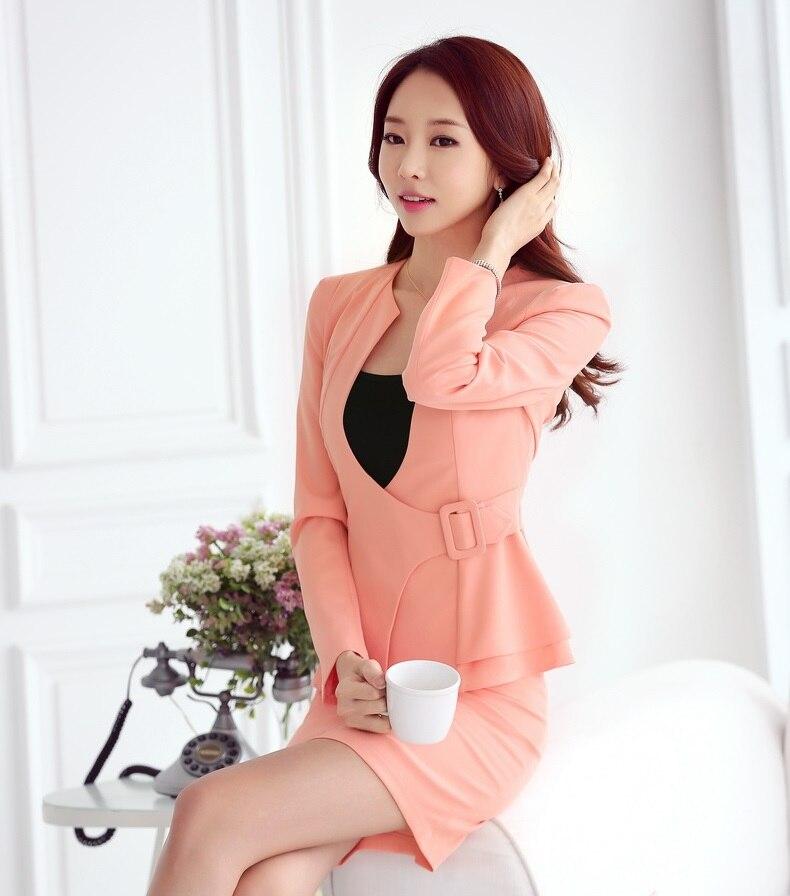 c23402d69764 Nuevo 2018 otoño mujeres Formal traje de negocios para señoras oficina  trabajo traje chaqueta rosa y falda conjuntos elegante en juegos de falda  de Ropa de ...