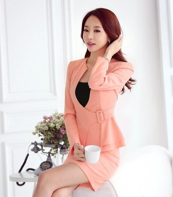 937dab04019f € 36.98 5% de DESCUENTO Nuevo 2018 otoño mujeres Formal traje de negocios  para señoras oficina trabajo traje chaqueta rosa y falda conjuntos elegante  ...