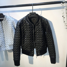 Vintage Grid Designer Women Faux Leather Jackets Winter Style Cool PU Coats Women Branding Clothes Pink Leather Jackets C1173