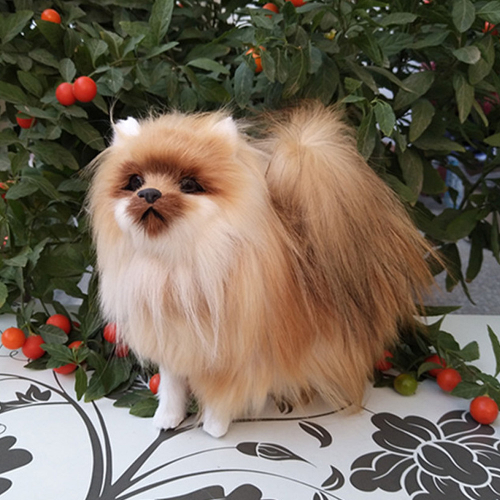 Fancytrader Handmade Emulated Pomeranian Dog Toy Made Of Plastic And
