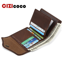 Men Wallet 100% Genuine Leather Casual Credit Card Holder Large Capacity Card Wallet Short Hasp Men Women Purse