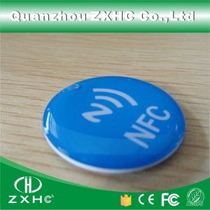 (10pcs) 100% New Waterproof Epoxy NFC Tag 32mm Crystal Blue for Sony and Another NFC Phones