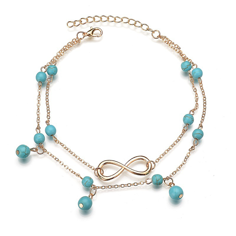 Geometric Element Design Blue Bead Pendant Fashion Foot Bare Anklet Bohemian Beach Ocean Bracelet Anklet Charm Woman Jewelry in Anklets from Jewelry Accessories