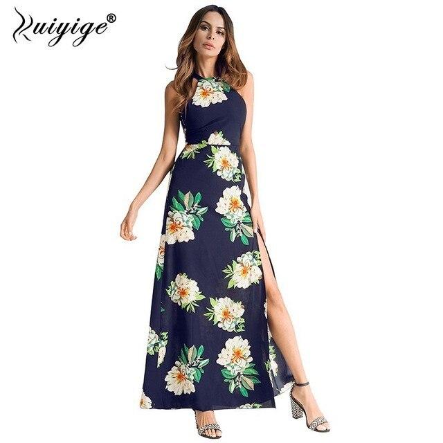 Ruiyige Floral Print Halter Chiffon Long Dress Sexy Backless Women 2018 Summer Split Beach Vestido Boho Elegant Party Maxi Dress