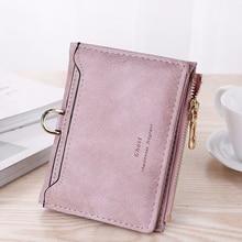 Porte feuille femme womens wallet matte retro simple style casual fashion zipper card bag purse small