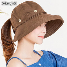XdanqinX 2019 Summer New Style Ladies Big Visor Sun Hats Sunscreen Removable Button Cloth Hat UV Resistant Beach For Women