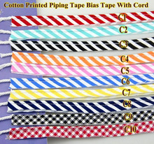 Grid Stripe Cotton Bias Cord Tape Flange Piping Trim  Binding Covered Insertion Tap Sewing Textile Tape 12mm,1/2