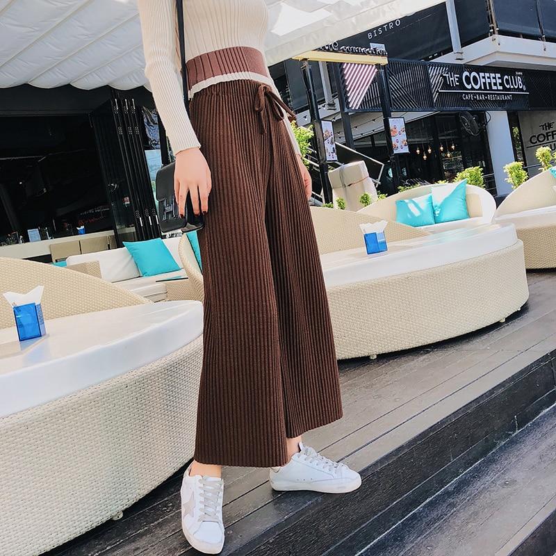 2018 Spring Women Pants New Korean Women's High-waist Pants Thread Wide Leg Pants Loose Thin Knit Women Trousers 3