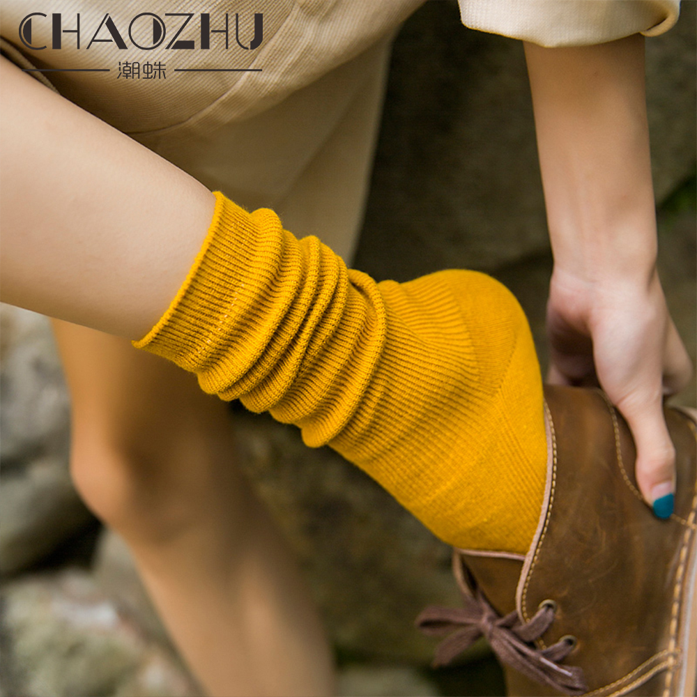 CHAOZHU Japanese Korea High School Girls High Socks Loose Solid Colors Double Needles Knitting Cotton Long Socks Women