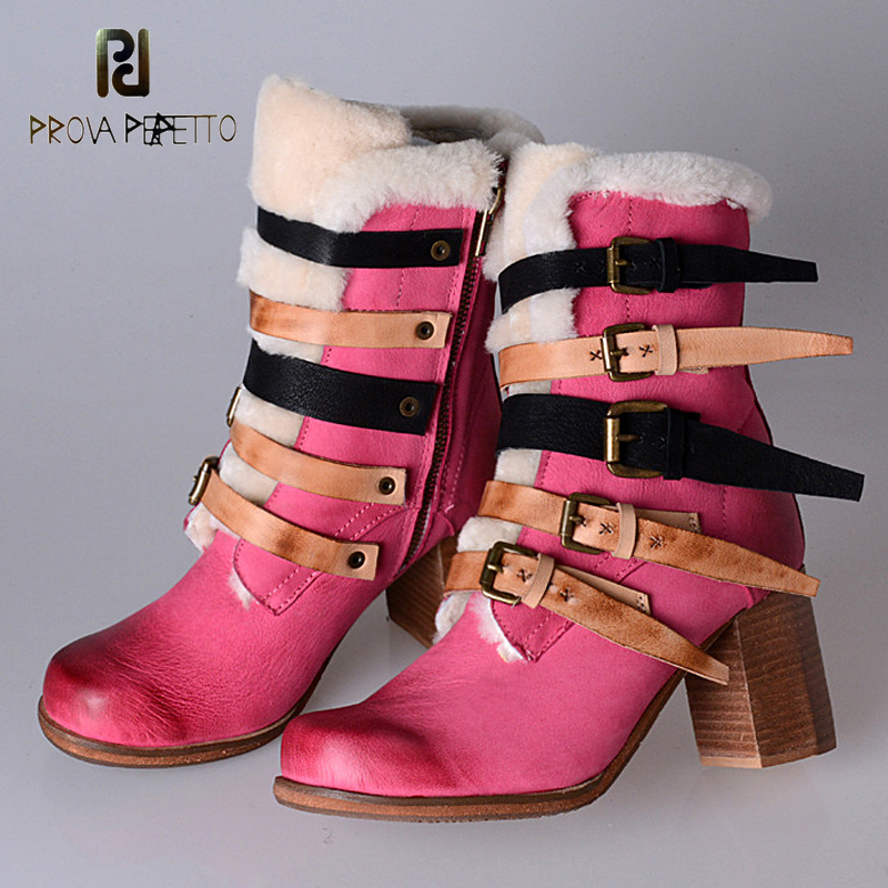 Prova Perfetto winter boots wool snow boots classic chelsea ankle boots genuine leather high heel women belt buckle boots pink prova perfetto winter women warm snow boots buckle straps genuine leather round toe low heel fur boots mid calf botas mujer