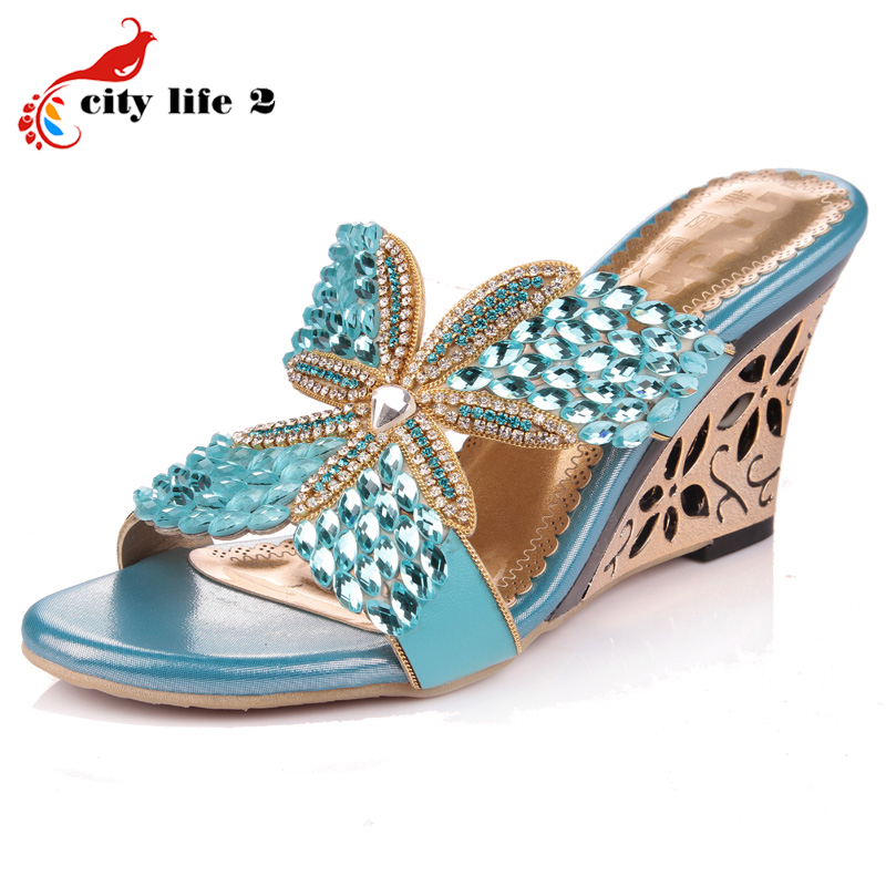 Summer 2016 Wedges Shoes Rhinestone New Slippers High Heeled Shoes Peep Toe Genuine Leather Diamond Sheepskin