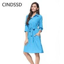 купить CINESSD Women Lapel 3/4 Long Sleeve Solid Casual Dress Blue Button Cardigan Lace Up Knee Length Office Ladies Pocket Midi Dress по цене 935.67 рублей