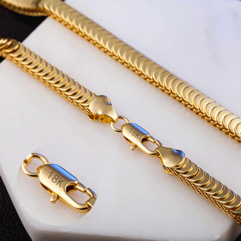 Modyle 2019 New Fashion Cool Punk 8mm Gold Snake Link Chain Necklace for Man Wholesale