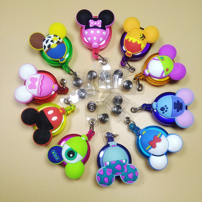 10Pcs Lovely Mickey Mouse Telescopic Badge Reel Multicolour ID Cardholder ID Badge Stretch 60cm Badge Clip For Student Workers
