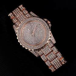 Новый Гипсофилы Женская мода Бизнес Стиль Кварцевые часы высокого класса полный горный хрусталь Женские кварцевые часы