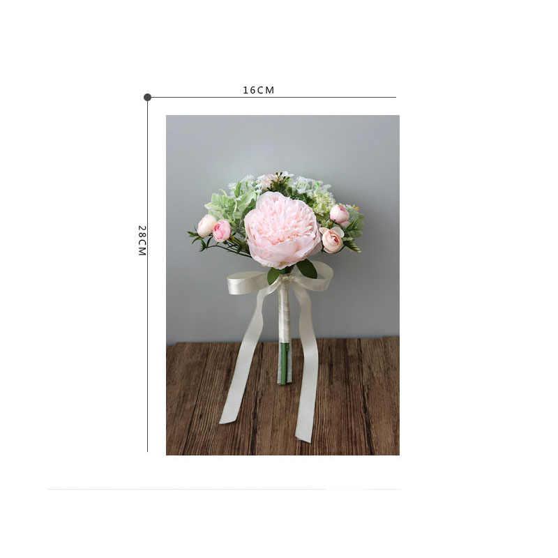ヨーヨー町ウェディングブーケシルク牡丹ローズブライダルホルダー人工花ブライドメイドの花束結婚結婚式のブーケの花