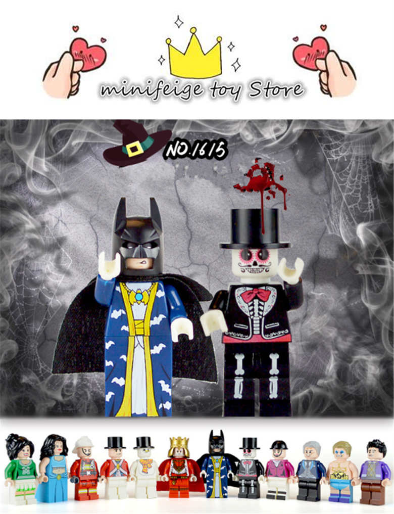 12pcs professions Kings Zombies Vampires Building Blocks DIY toys Compatible LegoINGlys With Weapons Action Figure Toy Halloween building blocks compatible with legoinglys ninjagois sets ninja heroes kai jay cole zane nya lloyd weapons action toy figure zk5