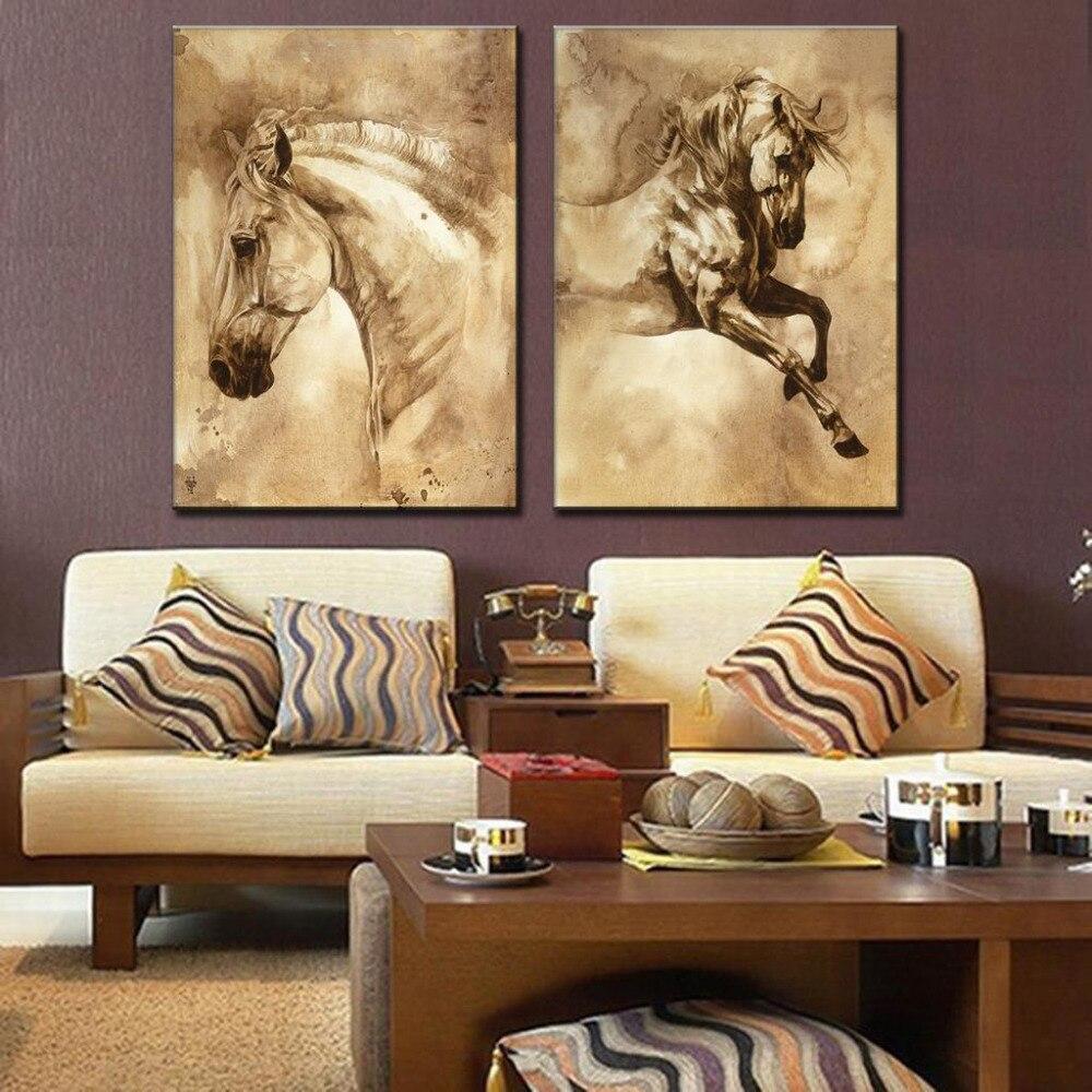 2 Piece Canvas Wall Art online get cheap 2 horses art -aliexpress | alibaba group