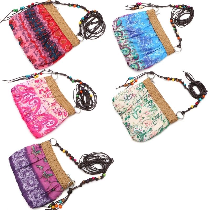 THINKTHENDO Women Exotic Boho Floral Straw Weave Strap Beach Messenger Bag Cloth Handbag