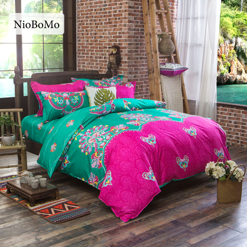 Niobomo Bohemian Bedding Set Polyester Bedclothes for Home Qualified Bed Sheet 4 Size Bed Linen drap de lit ...