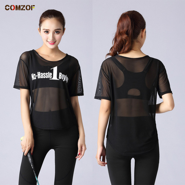 Women gym sport yoga tops fitness running t shirt girls mesh breathable  quick dry sport shirt summer sports workout clothes 471b16caa