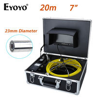 Eyoyo 20M 7 LCD 23mm Wall Drain Sewer Pipe Line Inspection Camera System CMOS 1000TVL Snake