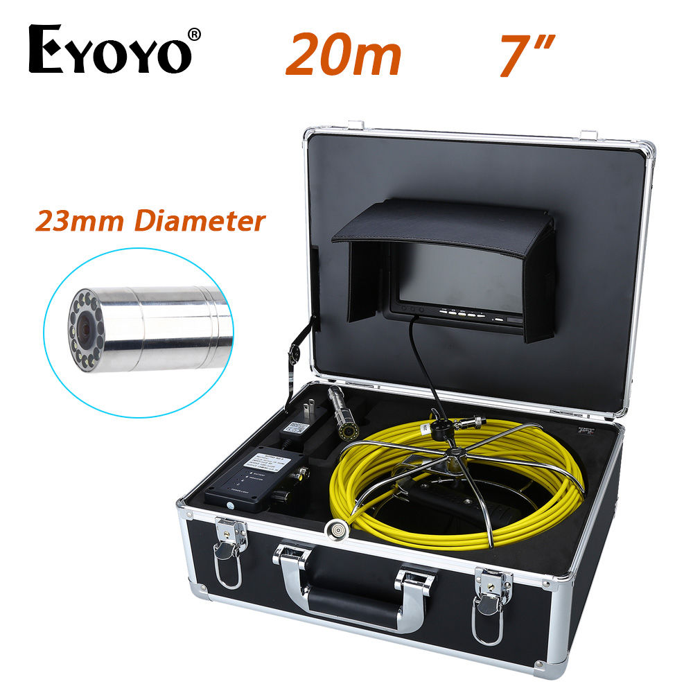 Eyoyo 20M 7 LCD 23mm Wall Drain Sewer Pipe Line Inspection Camera System CMOS 1000TVL Snake Endoscope HD TFT Color Sun shield dhl free wp90 50m industrial pipeline endoscope 6 5 17 23mm snake video camera 9 lcd sewer drain pipe inspection camera system
