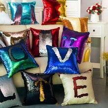 Mermaid Sequin Patchwork Cushions Cover Home Decor Pillowcase Decorative Cushion Covers Pillows Sofa Christmas Decorations