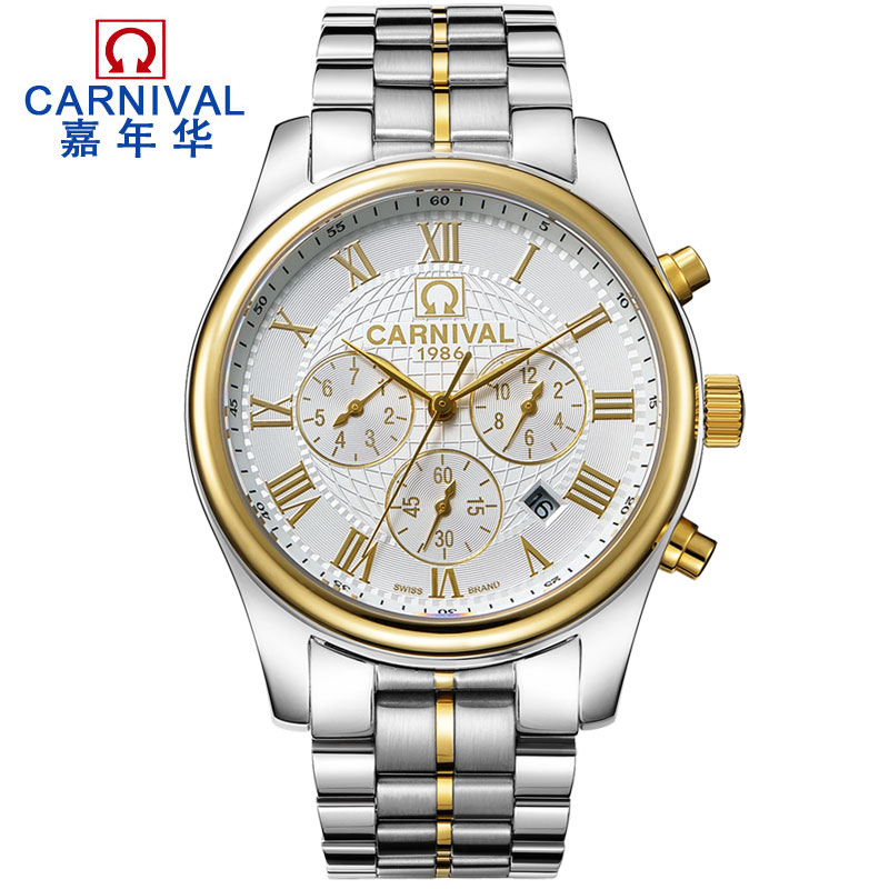 Kol saati Top brand CARNIVAL Luxury Mens Watches Double Week Calendar Automatic Watch men Sapphire Waterproof Mechanical Watches wrist switzerland automatic mechanical men watch waterproof mens watches top brand luxury sapphire military reloj hombre b6036
